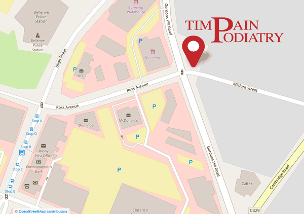 Map showing location of Tim Pain Podiatry